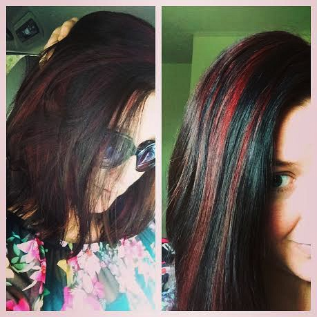 red highlights black hair