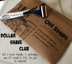 Dollar Shave Club is for ladies too! (razor handle, 4 cartridges, $5 credit all for $1!)
