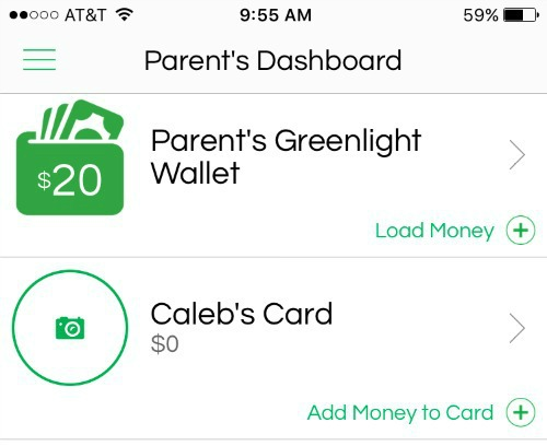 greenlight debit card app parents wallet