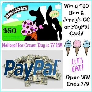 National Ice Cream day is coming! Ben & Jerry's or PayPal $50 giveaway!