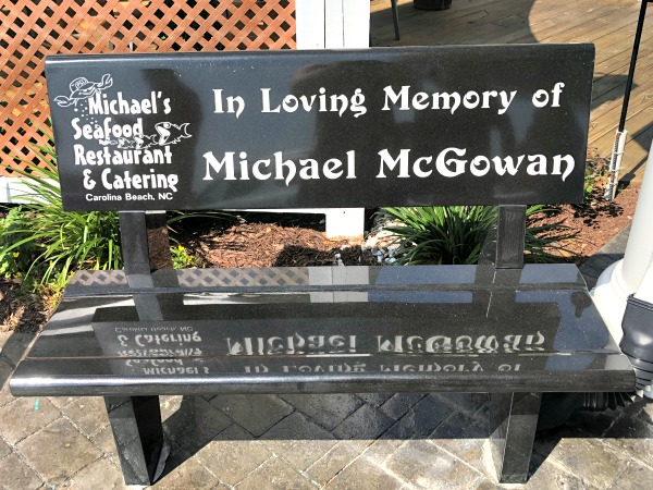 Michael's Seafood restaurant memorial bench