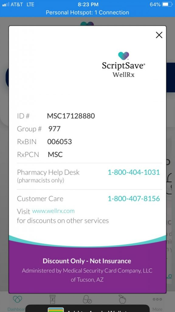 ScriptSave WellRx card