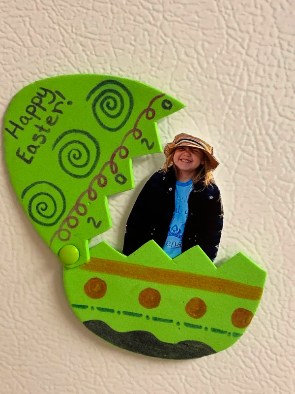 Easter egg photo magnet craft kids