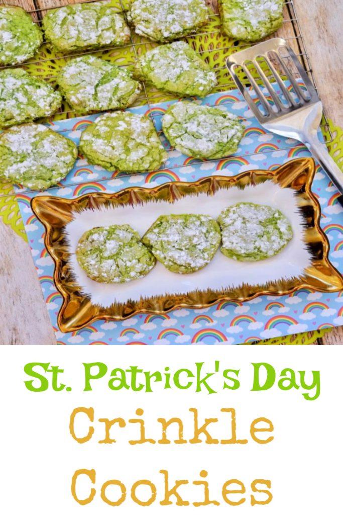 st patricks day crinkle cookies