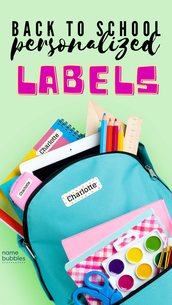 back to school labels name bubbles