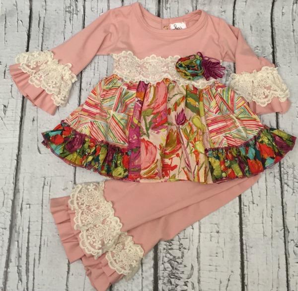 haute baby purrfect autumn blooms tunic leggings