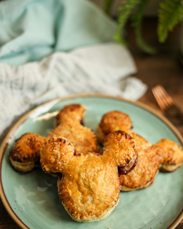 Mickey Mouse cherry turnovers