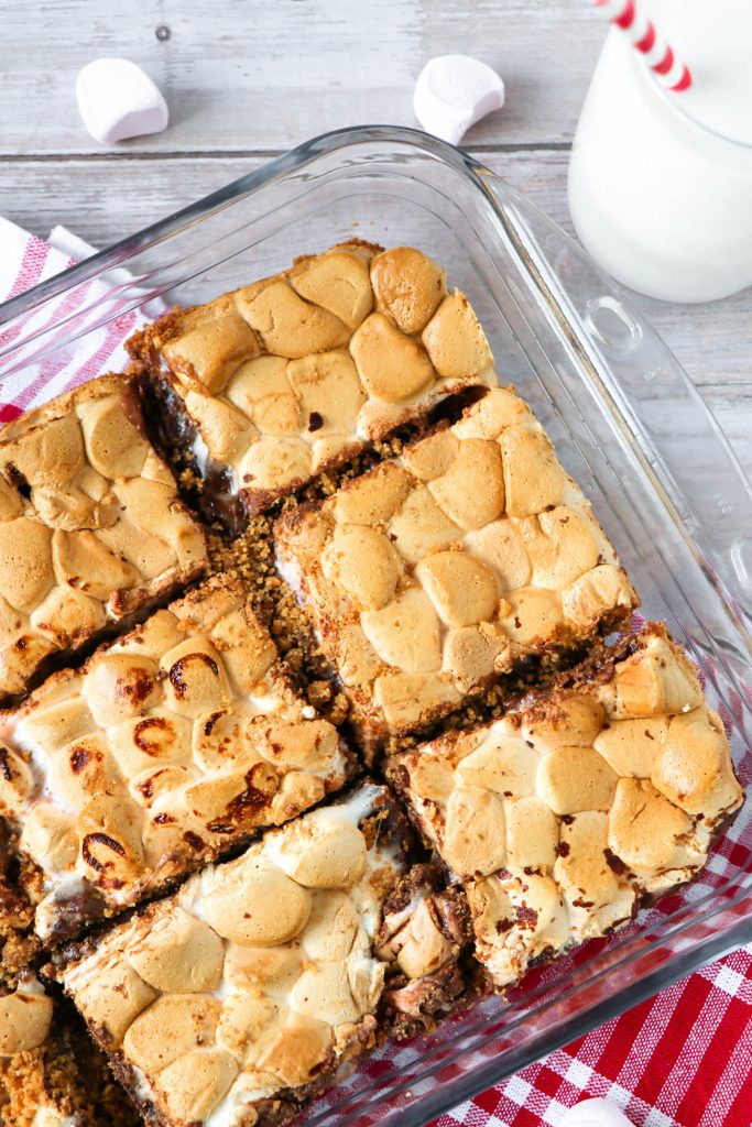 baking dish of gooey s'mores bars